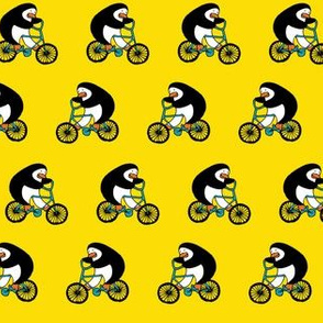 Penguins on bikes - Yellow