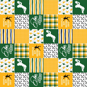 3 inch Football//Hustle Hit Never Quit - Packers - Wholecloth Cheater Quilt - Rotated