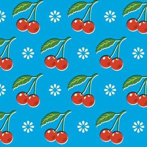 Cherry Bomb* (Sky) || cherry cherries fruit leaves flowers nature sour pie summer cobbler maraschino blue vintage kitchen