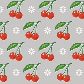 Cherry Bomb* (Silkscreen) || cherry cherries fruit leaves flowers nature sour pie summer cobbler maraschino gray grey vintage kitchen