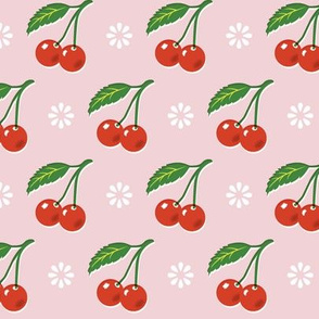 Cherry Bomb* (Capote) || cherry cherries fruit leaves flowers nature sour pie summer cobbler maraschino pastel pink vintage kitchen