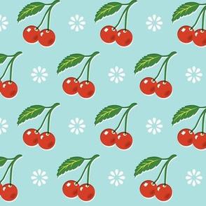 Cherry Bomb* (Polymer) || cherry cherries fruit leaves flowers nature sour pie summer cobbler maraschino pastel turquoise vintage kitchen