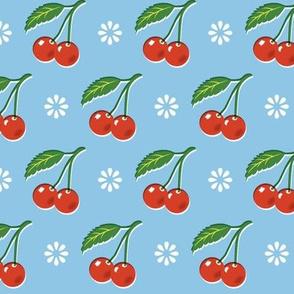 Cherry Bomb* (Sailor) || cherry cherries fruit leaves flowers nature sour pie summer cobbler maraschino pastel blue vintage kitchen