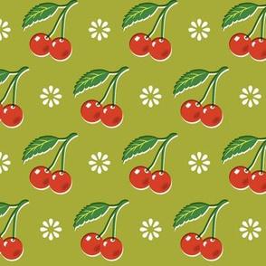 Cherry Bomb* (Split Pea Soup) || cherry cherries fruit leaves flowers nature sour pie summer cobbler maraschino olive green vintage kitchen