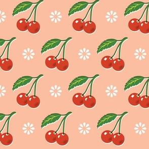 Cherry Bomb* (Peach Halves) || cherry cherries fruit leaves flowers nature sour pie summer cobbler maraschino pastel coral pink vintage kitchen