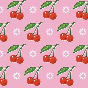 Cherry Bomb* (Pink Cow) || cherry cherries fruit leaves flowers nature sour pie summer cobbler maraschino pastel vintage kitchen
