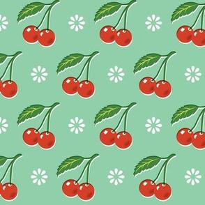 Cherry Bomb* (Green Stamps) || cherry cherries fruit leaves flowers nature sour pie summer cobbler maraschino pastel vintage kitchen
