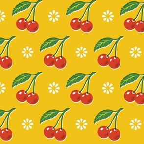 Cherry Bomb* (Velvet Banana) || cherry cherries fruit leaves flowers nature sour pie summer cobbler maraschino vintage kitchen yellow gold mustard