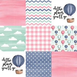 Hot Air Balloon//Oh the places you'll go - Wholecloth Cheater Quilt