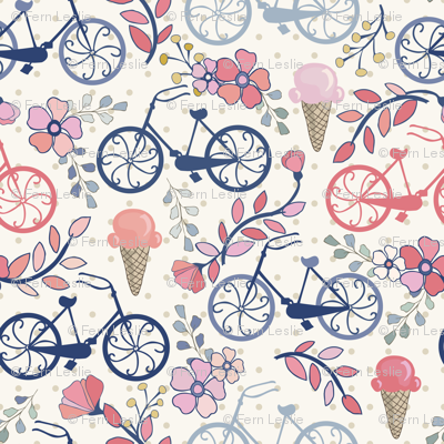 Biking for Ice Cream- Dot- Blue, Pink, Blush