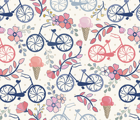 Biking for Ice Cream- Dot- Blue, Pink, Blush fabric by fernlesliestudio on Spoonflower - custom fabric