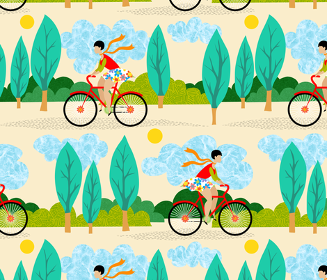 Cycling on a summer afternoon fabric by vo_aka_virginiao on Spoonflower - custom fabric