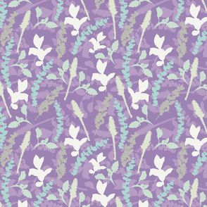 Colorful silhouette of grass and plants closed on violet background Vector seamless repeat pattern