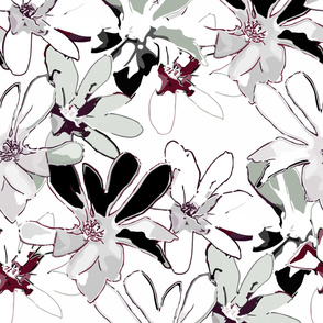Magnolias - Pink, maroon and black on white