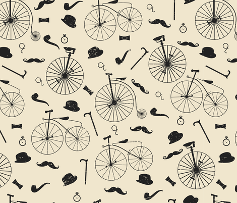 The Victorian Gentleman Goes Cycling fabric by meredith_watson on Spoonflower - custom fabric
