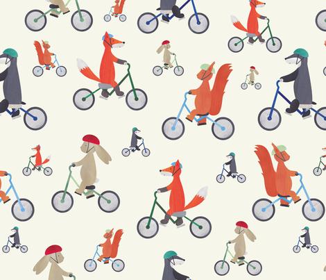 Woodland Bicycle Buddies fabric by woodlanders on Spoonflower - custom fabric