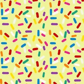 Jimmies sprinkles on yellow