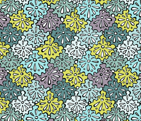 bicycle cogs as flowers  fabric by pookeek on Spoonflower - custom fabric