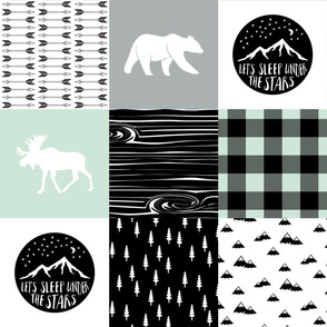 Happy camper patchwork wholecloth - woodland mint,grey, and black