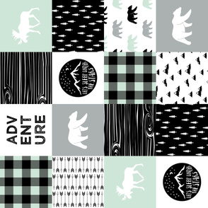 Happy camper patchwork wholecloth - woodland mint,grey, and black (90)