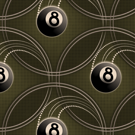 ★ MAGIC EIGHT BALL ★ Olive Green - Large Scale / Collection : 8 Balls - Billiard & Rock 'n' Roll Old School Tattoo Print fabric by borderlines on Spoonflower - custom fabric