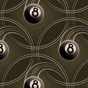 ★ MAGIC EIGHT BALL in OLIVE GREEN ★ Large Scale Print