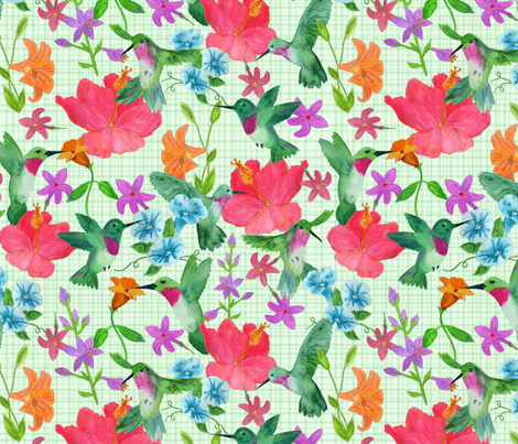 Hummingbirds fabric by diseminger on Spoonflower - custom fabric