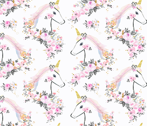sweet unicorn floral fabric by crystal_walen on Spoonflower - custom fabric