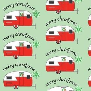merry christmas retro trailer on mint green