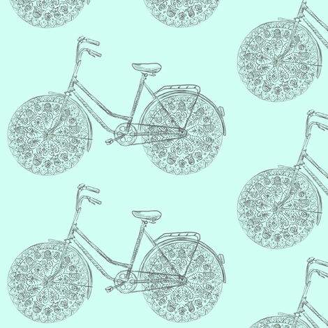 Freestyle Bike (mint) fabric by helenpdesigns on Spoonflower - custom fabric