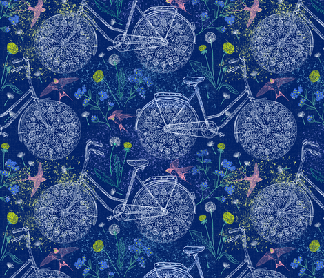 Freestyle Cycling (navy) fabric by helenpdesigns on Spoonflower - custom fabric