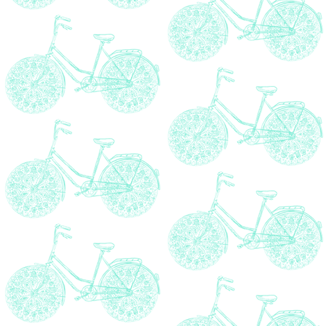 Freestyle Bike (mint sketch) fabric by helenpdesigns on Spoonflower - custom fabric
