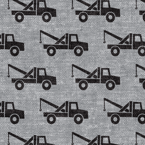 tow trucks - black on grey W fabric by littlearrowdesign on Spoonflower - custom fabric