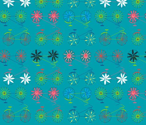 Flower power bicycles fabric by goatfeatherfarm on Spoonflower - custom fabric