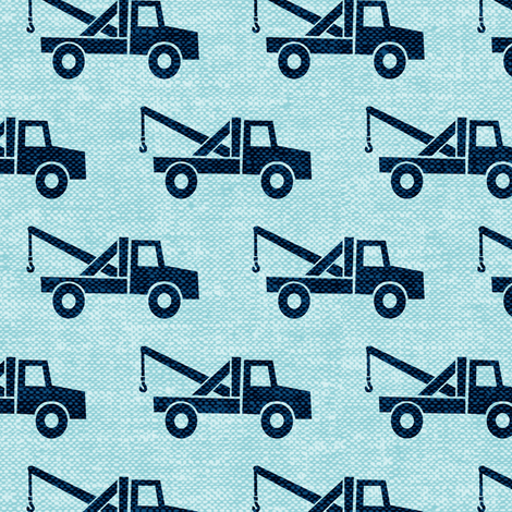 Tow trucks blue on blue w fabric littlearrowdesign for Little blue truck fabric
