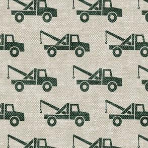 tow trucks - green on beige W