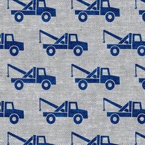 tow trucks - blue on grey W