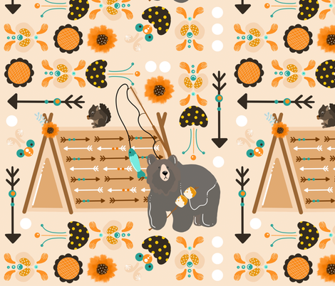 Beary Happy Camper fabric by tinsel_and_taylor on Spoonflower - custom fabric