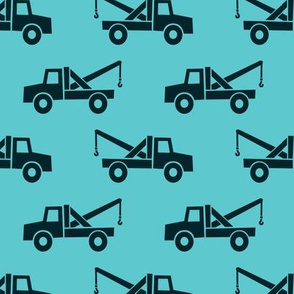 tow trucks - dark blue on teal