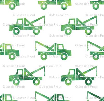 tow trucks - watercolor green