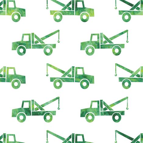 tow trucks - watercolor green fabric by littlearrowdesign on Spoonflower - custom fabric