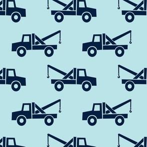 tow trucks - navy on baby blue