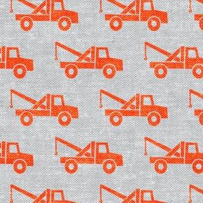 tow trucks - orange on grey W