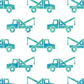 tow trucks - watercolor teal