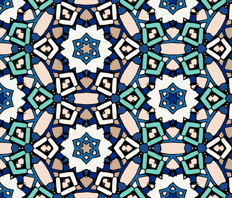 Zillij Mosaic Pattern #6 fabric by kukileaf on Spoonflower - custom fabric