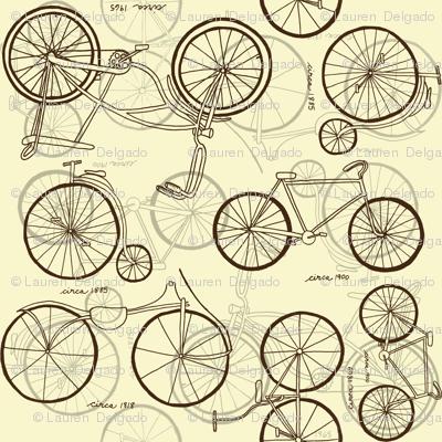 Vintage Bikes Sepia Sketches