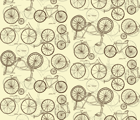 Vintage Bikes Sepia Sketches fabric by chipper_and_perk on Spoonflower - custom fabric