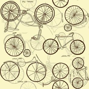 Vintage Bicycles Sepia Sketches