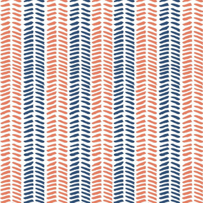 Herringbone Brush - coral & navy
