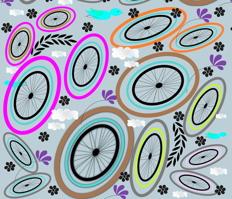 Bicycling on a Sunny Day fabric by gracelillydesigns on Spoonflower - custom fabric